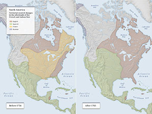 North America Map, before 1754 and after 1763